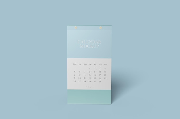 Vertical desk calendar mockup design