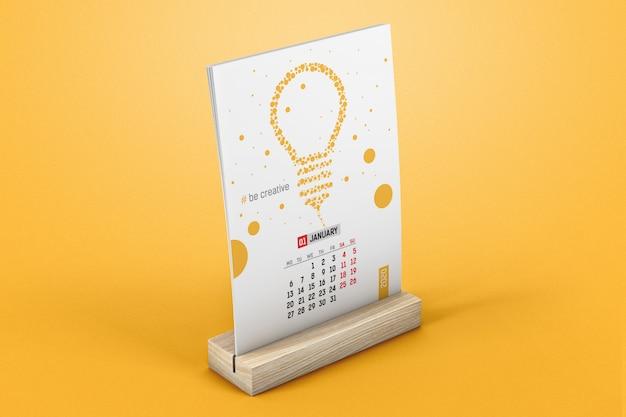 Vertical desk calendar on a wooden stand mockup