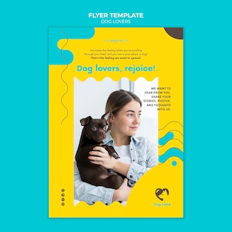 Vertical flyer for dog lovers with female owner