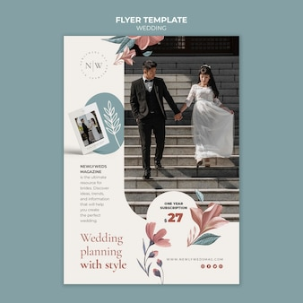 Vertical flyer for floral wedding
