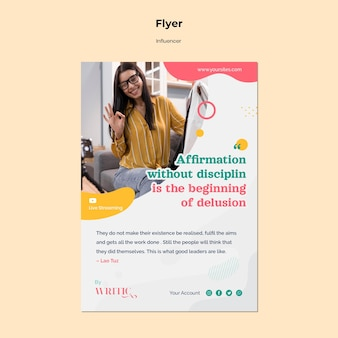 ソーシャルメディアの女性インフルエンサーのための垂直チラシ