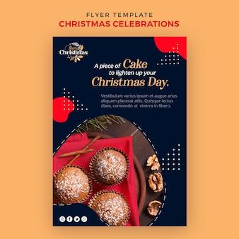 전통적인 크리스마스 디저트를위한 수직 전단지 무료 PSD 파일