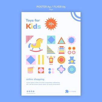 Volantino verticale per lo shopping online di giocattoli per bambini