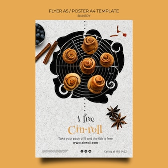 Vertical flyer template for bakery shop
