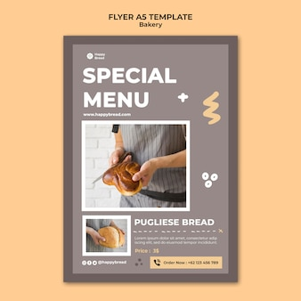 Vertical flyer template for bread shop