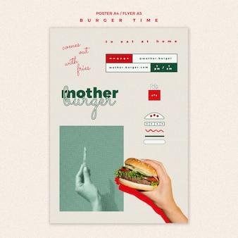 Modello di volantino verticale per ristorante di hamburger