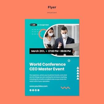 Modello di volantino verticale per conferenza evento ceo master