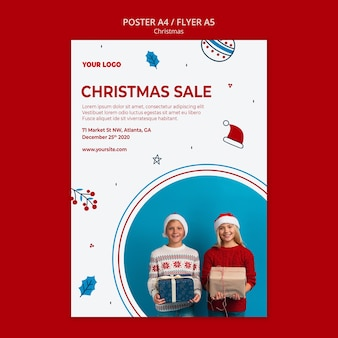 Vertical flyer template for christmas