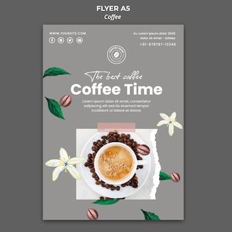 Modello di volantino verticale per caffè