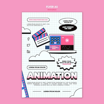 Vertical flyer template for computer animation