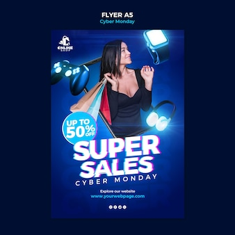 Vertical flyer template for cyber monday with woman and items