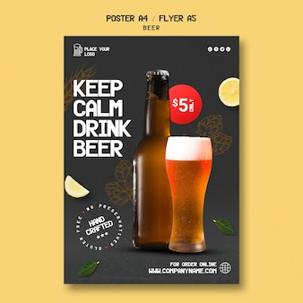 Vertical flyer template for drinking beer