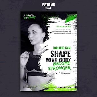 Vertical flyer template for exercise and gym training