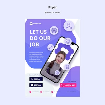 Vertical flyer template for female auto mechanic