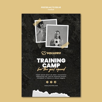 Vertical flyer template for female football player