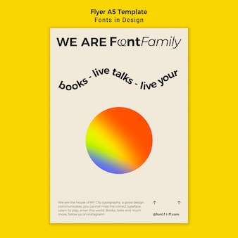 Vertical flyer template for fonts and design