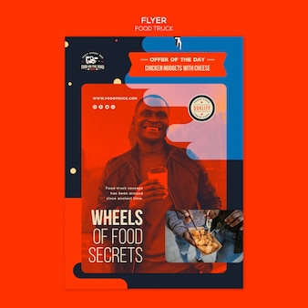 Vertical flyer template for food truck business