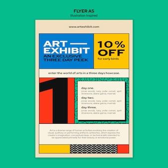 Вертикальный шаблон флаера для художественной выставки