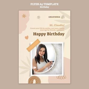 Вертикальный шаблон флаера для празднования дня рождения