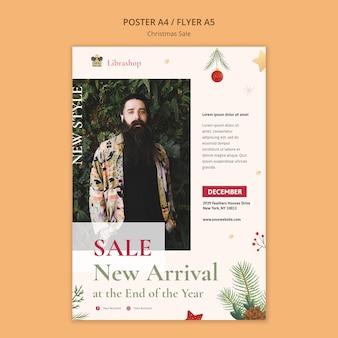 Вертикальный шаблон флаера для рождественской распродажи