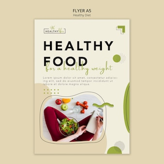 Вертикальный шаблон флаера для здорового питания