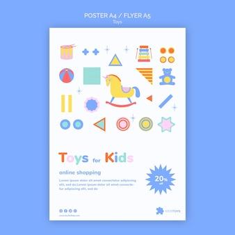 Вертикальный шаблон флаера для детских игрушек в интернет-магазине