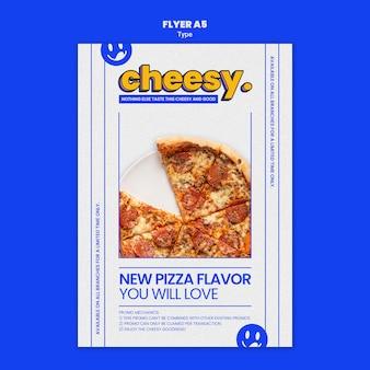 새로운 치즈 피자 맛을위한 수직 전단지 템플릿