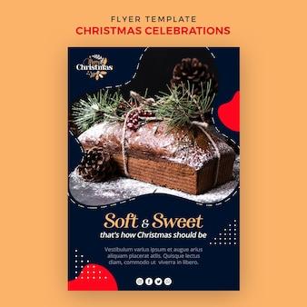 伝統的なクリスマスデザートの縦型チラシテンプレート