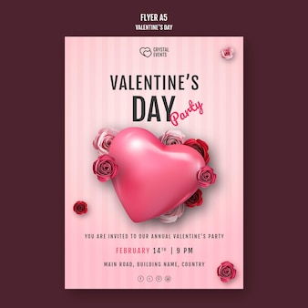 Вертикальный шаблон флаера на день святого валентина с сердцем и красными розами