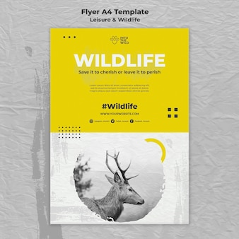 Вертикальный шаблон флаера для защиты дикой природы и окружающей среды