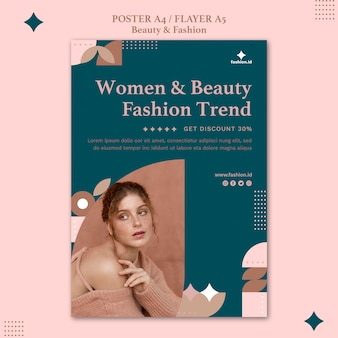 여성의 아름다움과 패션을위한 수직 전단지 템플릿