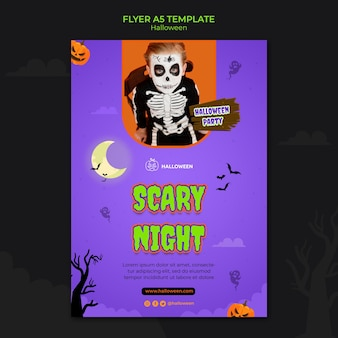 Vertical flyer template for halloween with kid in costume