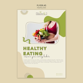Vertical flyer template for healthy diet with vegetables
