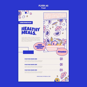 Vertical flyer template for healthy meals Free Psd
