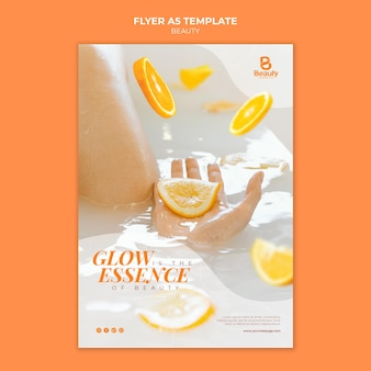 Vertical flyer template for home spa skincare with woman and orange slices