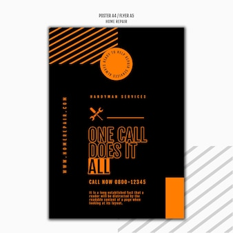 Vertical flyer template for house repair company