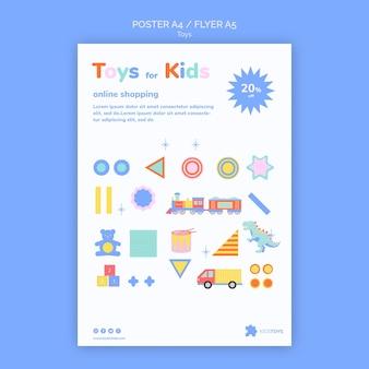 Modello di volantino verticale per lo shopping online di giocattoli per bambini
