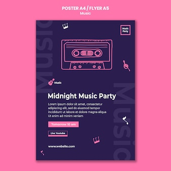 Vertical flyer template for music party
