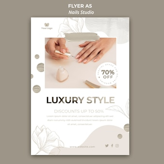 Vertical flyer template for nail salon