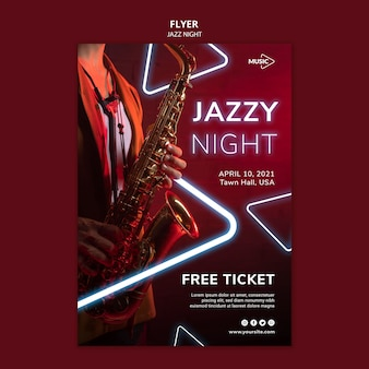 Vertical flyer template for neon jazz night event