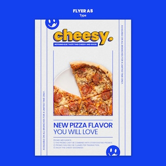 Vertical flyer template for new cheesy pizza flavor