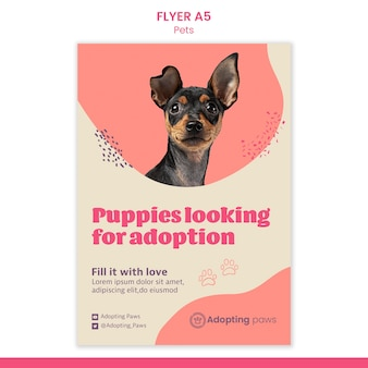Vertical flyer template for pet adoption with dog
