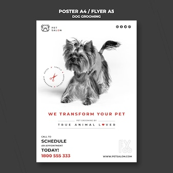 Vertical flyer template for pet grooming company