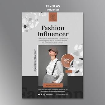 Vertical flyer template for social media female influencer