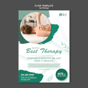 Vertical flyer template for spa massage with woman
