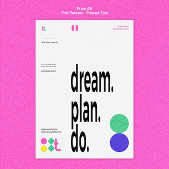 Vertical flyer template for type phrases
