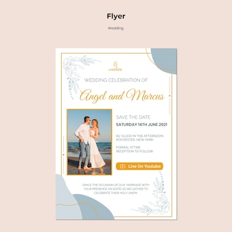 Vertical flyer template for wedding ceremony with bride and groom