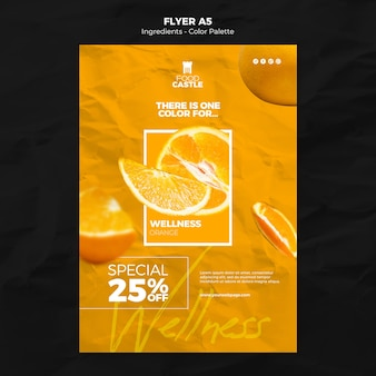 Vertical flyer template with orange
