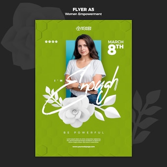 Vertical flyer template for women empowerment with encouraging word