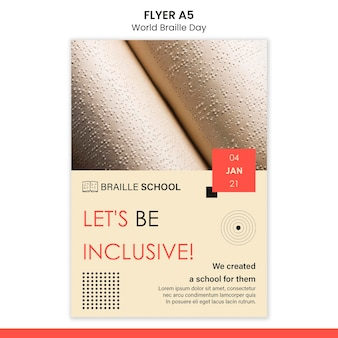Vertical flyer template for world braille day